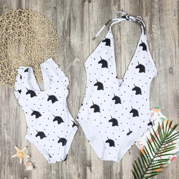 Unicorn Printed Family Matching Swimwear