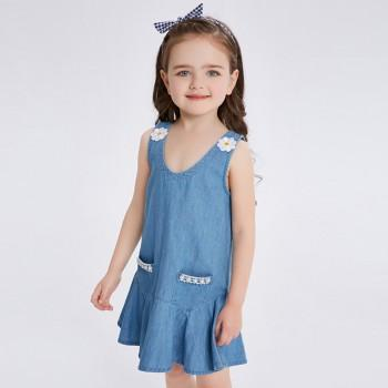Pretty Sleeveless Denim Dress With Diamond Decor For Baby And Toddler S