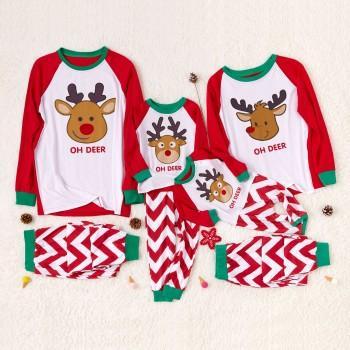 Oh Deer Festive Stripes Family Matching Pajamas