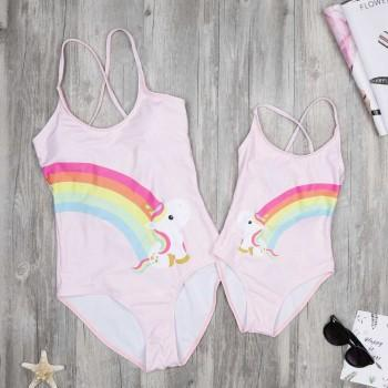 Mom and Me Lovely Rainbow Unicorn Lace-up One-piece Swimsuit in Light Pink