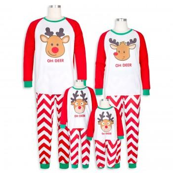 Oh Deer Festive Stripes Family Matching Pajamas