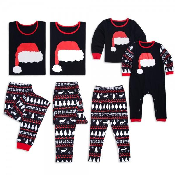 cute christmas hat print family matching pajamas