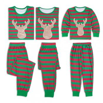 Lovely Deer Print Striped Family Matching Pajamas