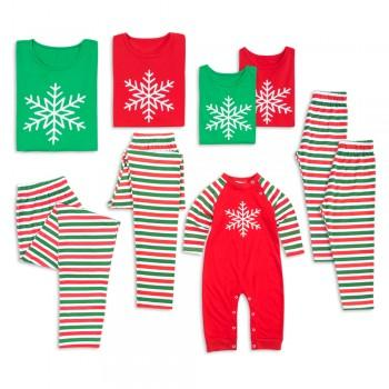 Snowflake Print Stripes Family Matching Pajamas