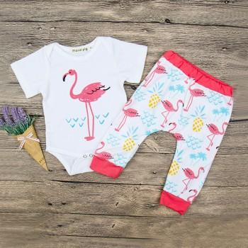 2-piece Cute Flamingo Bodysuit and Pants Set for Baby