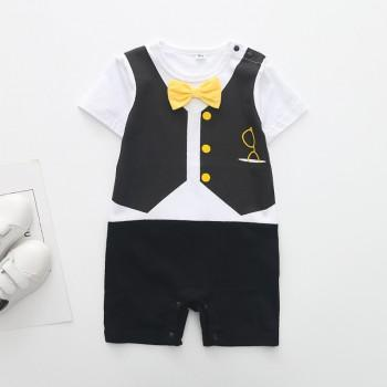 Handsome Bow Tie Short-sleeve Romper in Black for Baby Boy