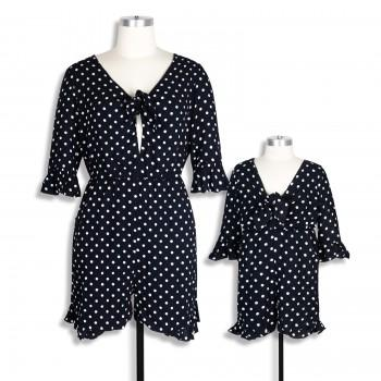 Polka dots Printed Short-sleeve Mommy and Me Beach Playsuit in Navy