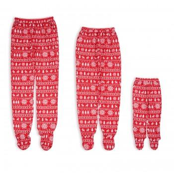 Christmas Theme Pattern Footie Matching Pajama Pants