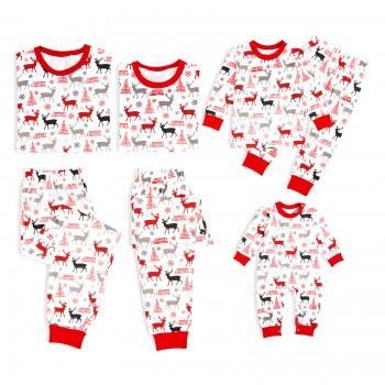 Merry Christmas Reindeer Pattern Family Matching Pajamas