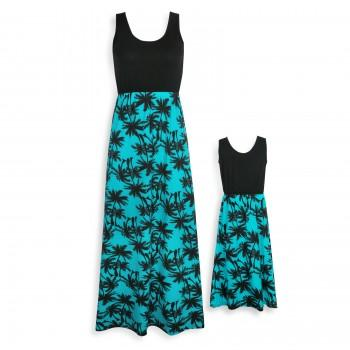 Palm Printed Sleeveless Maxi Dress in Green for Mommy and Me