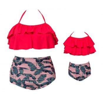 Two-piece Mommy and Me Tropical Printed Ruffles Bikini Set
