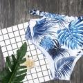 Two Piece Mom and Me Ruffles Palm Printed Bikini Set in White