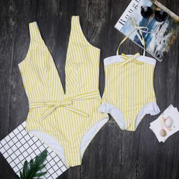 Mommy and Me Vintage Stripes V-neck One-piece Swimsuit in Yellow