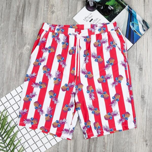 Cool Pineapple Printed Stripes Swim Trunks for Daddy and Me