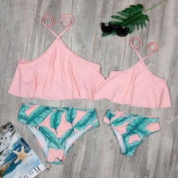 Two-piece Mommy and Me Tropical Printed Ruffles Halter Bikini Set