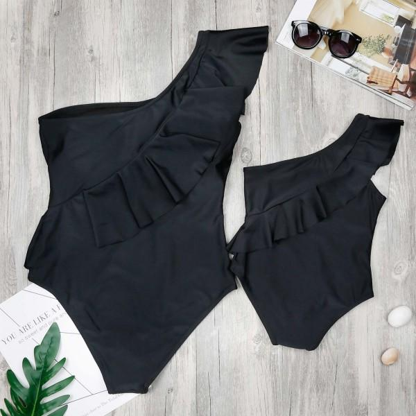 Mommy and Me Solid One-shoulder Ruffles Swimsuit in Black