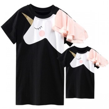 Mom and Me Cute Ruffle Sleeves Unicorn Print Dress