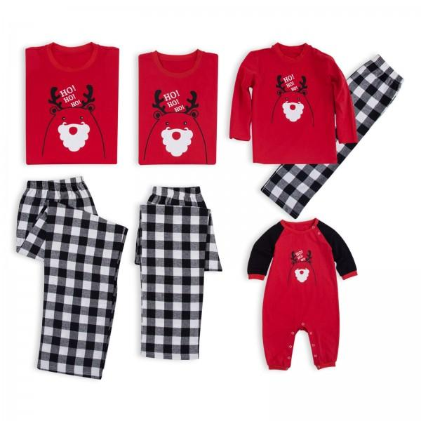 Cute Reindeer Santa Print Family Matching Pajamas in Red