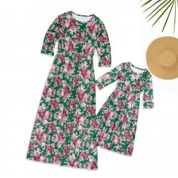 Mom and Me Round Collar Floral Dress in Green