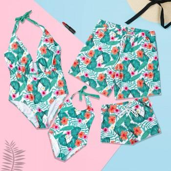 Fresh Tropical Printed Family Matching Swimwear in Green
