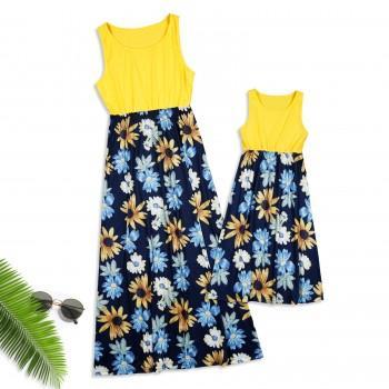 Mommy and Me Trendy Daisy Printed Sleeveless Maxi Dress