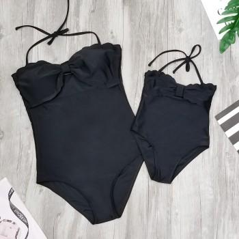 One-piece Mommy and Me Classic Solid Swimsuit in Black