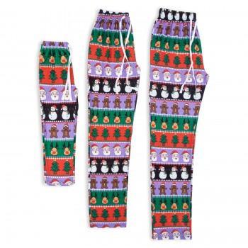 Christmas Santa Snowman Printed Matching Pajamas Pants