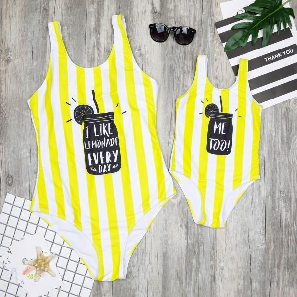 Mommy and Me Sweet Stripes Printed One-piece Swimsuit in Yellow