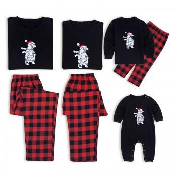 Christmas Bear Santa Print Family Matching Pajamas