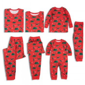 Allover Dinosaur Printed Family Matching Pajamas in Red