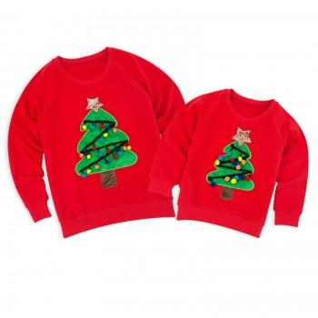 Mommy and Me Christmas Tree Appliqued Matching Top