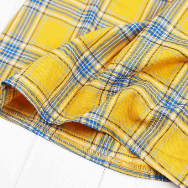 Mommy and Me Stylish Plaid Half-sleeve Tee in Yellow