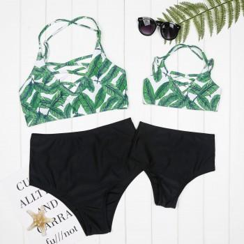 Mommy and Me 2-piece Leaves Printed Cross Bikini Set