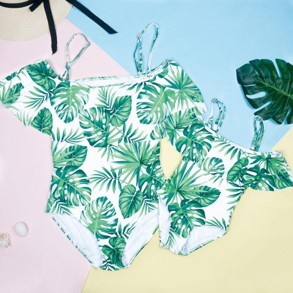 Mommy and Me Fresh Tropical Printed Ruffles One-piece Swimsuit