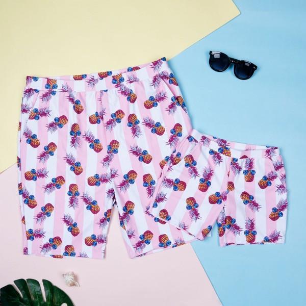 Family Matching Cool Stripes Pineapple Swimwear