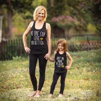 Mommy and Me Letters Printed Black Tank