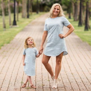Mommy and Me Navy Style Blue Stripes Short-sleeve Dress