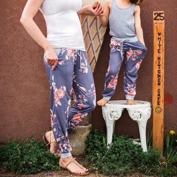Vintage Floral Printed Adjustable Mom and Me Yoga Pants