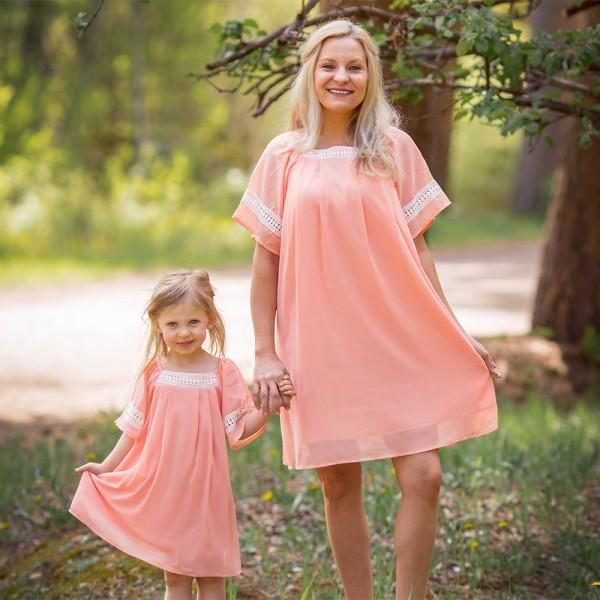 Elegant Solid Short-sleeve Dress for Mom and Me