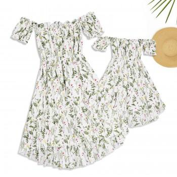 Mommy and Me Fashionable Floral Printed Off-shoulder Dress