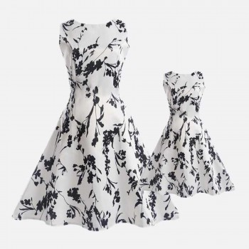 Flower dresses online shopping patpat mommy and me black flower sleeveless white dress mightylinksfo