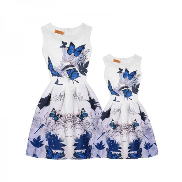 Blue Butterflies and Chrysanthemum Printed Mom and Me Dress