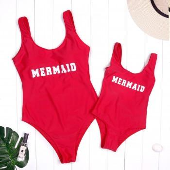 Mommy and Me Solid Mermaid Printed One-piece Swimsuit in Red