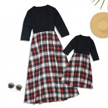 Mommy and Me Vintage Plaid Contrast Long Sleeve Dress