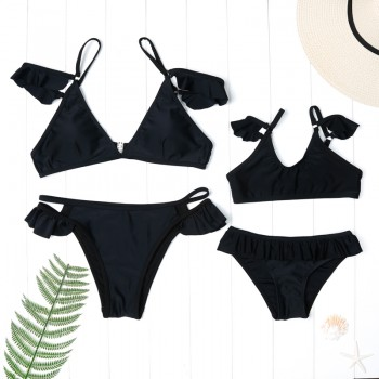 Solid Ruffles Bikini Set in Black for Mommy and Me