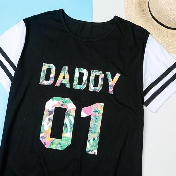 'DADDY 01' and 'DADDY'S GIRL 01' Matching Short-sleeve Tee in Black