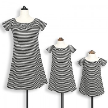 Classic Stripes Short-sleeve Dress for Mom and Me