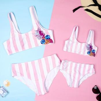 Two-piece Mommy and Me Stripes Pineapple Printed Bikini Set