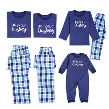 Family Christmas Plaid Long Sleeves Matching Pajamas in Blue