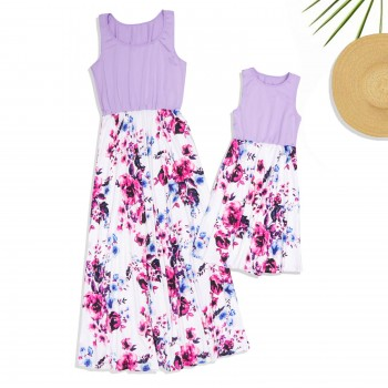 Mommy and Me Sleeveless Floral Maxi Dress in Light Purple